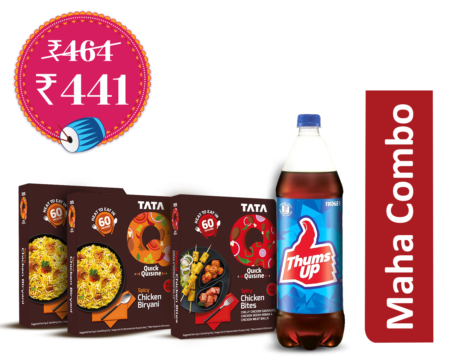 Heavy Feast Delights (1Unit) : Tata Q Spicy Chicken Biryani * 2Pieces + Spicy Chicken Bites 1Pieces + Thums Up 1.25Ltr