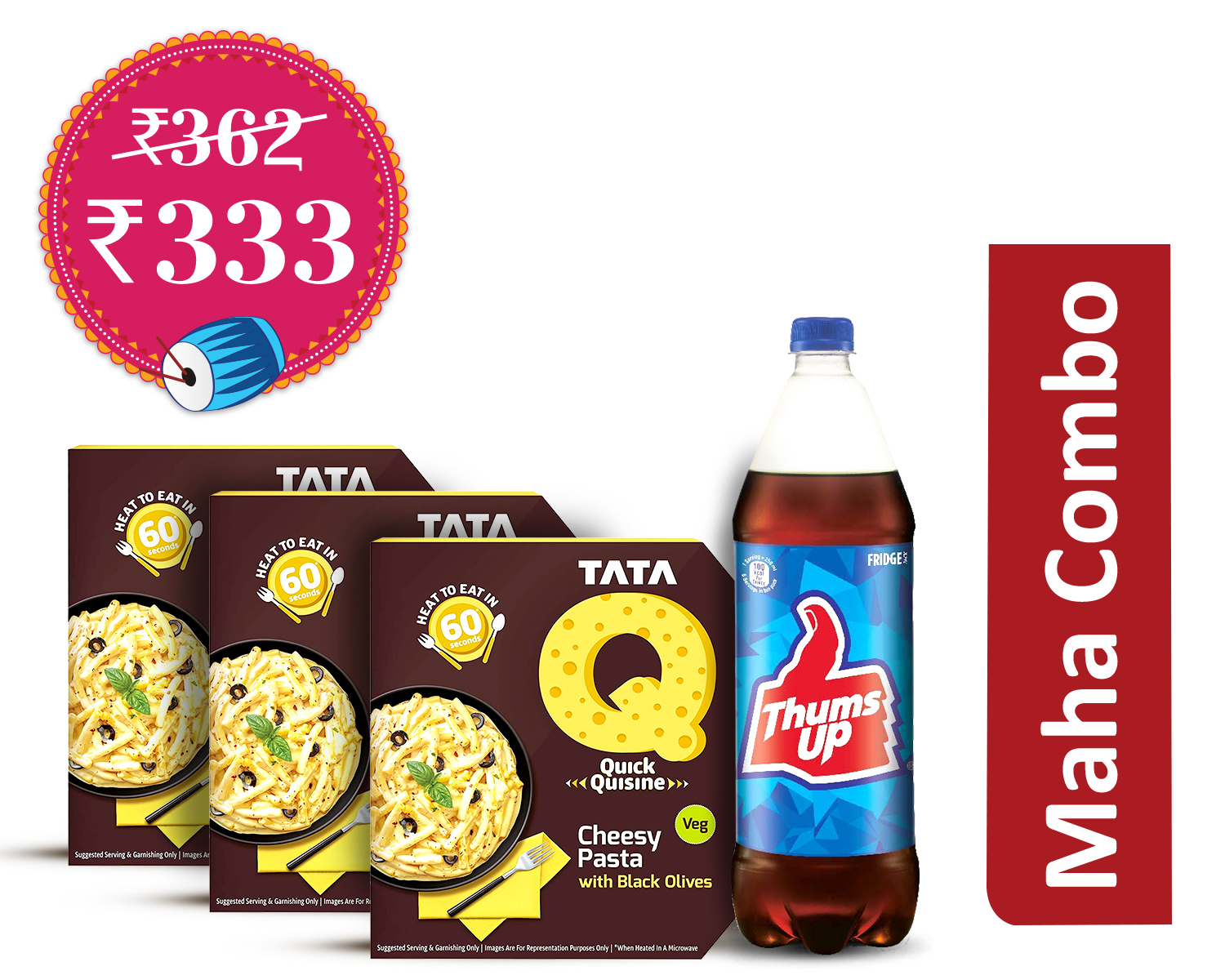 Easy-Cheesy Pack (1Unit) : Tata Q Cheesy Pasta With Black Olives * 3 + Thums Up 1.25Ltr
