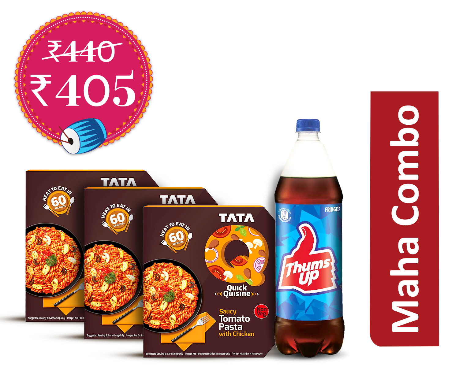 Tasty-Treat Pack (1Unit) : TataQ Saucy Tomato Pasta With Chicken * 3 + Thums Up 1.25Ltr
