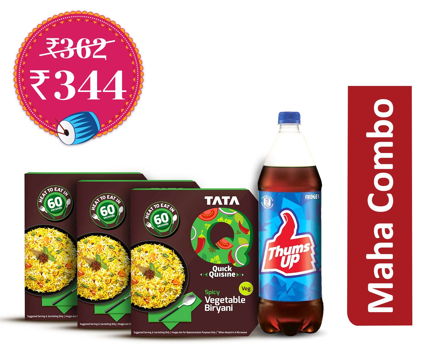 Veggie Dinner Delights (1Unit) : TataQ Spicy Vegetable Biryani * 3 + Thums Up 1.25Ltr