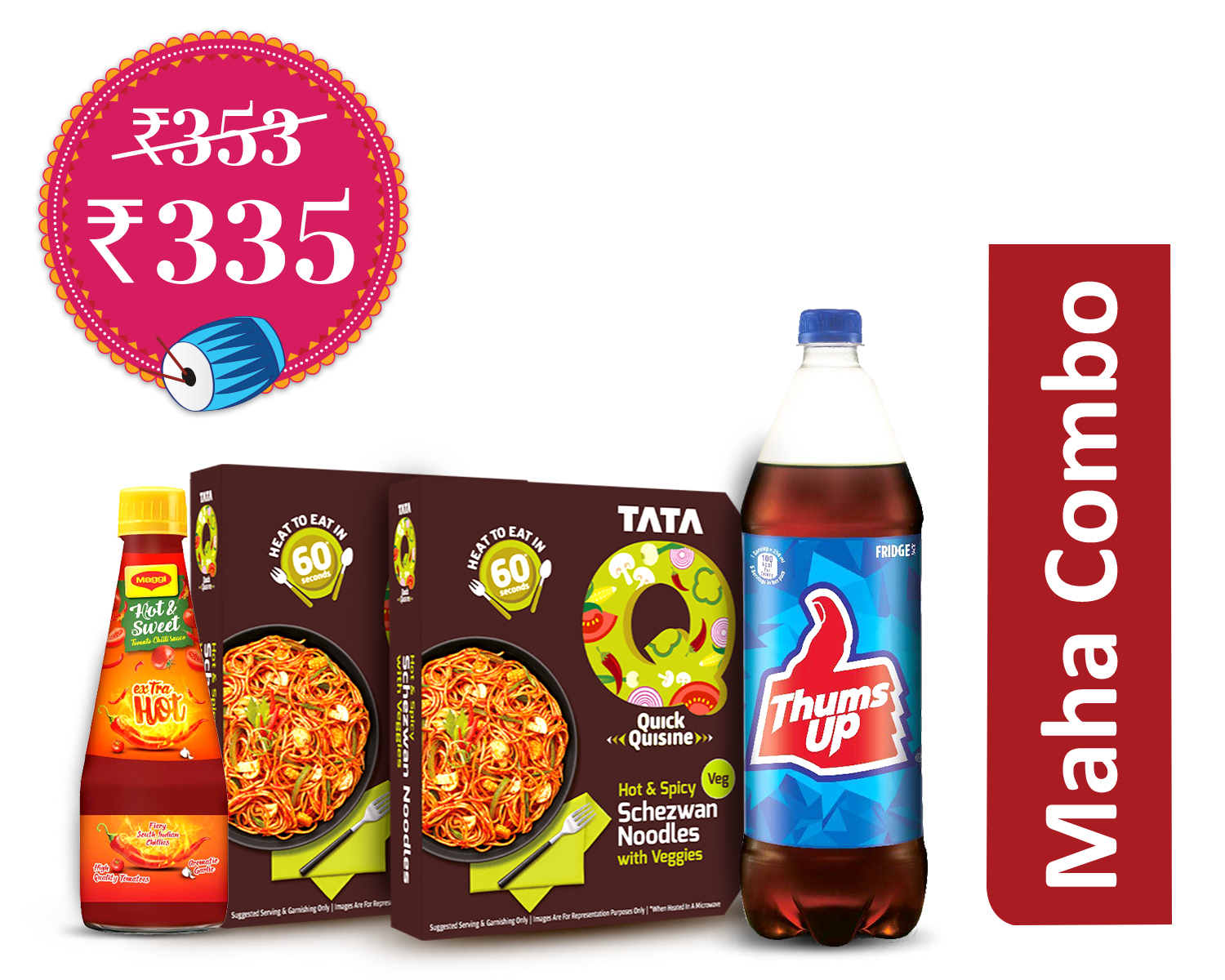 Snack-a-thon Packs Veg (1Unit) : Tata Q Hot & Spicy Schezwan Noodles With Veggies * 2 + Maggi Extra Hot H&S + Thums Up 1.25Ltr