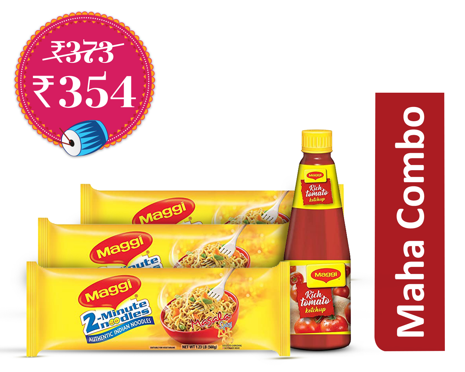 Last Minute Fixes Veg (1Unit) : Maggi Masala Noodles 560 gm * 3 + Maggi Tomato Ketchhup Bottle 500 gm