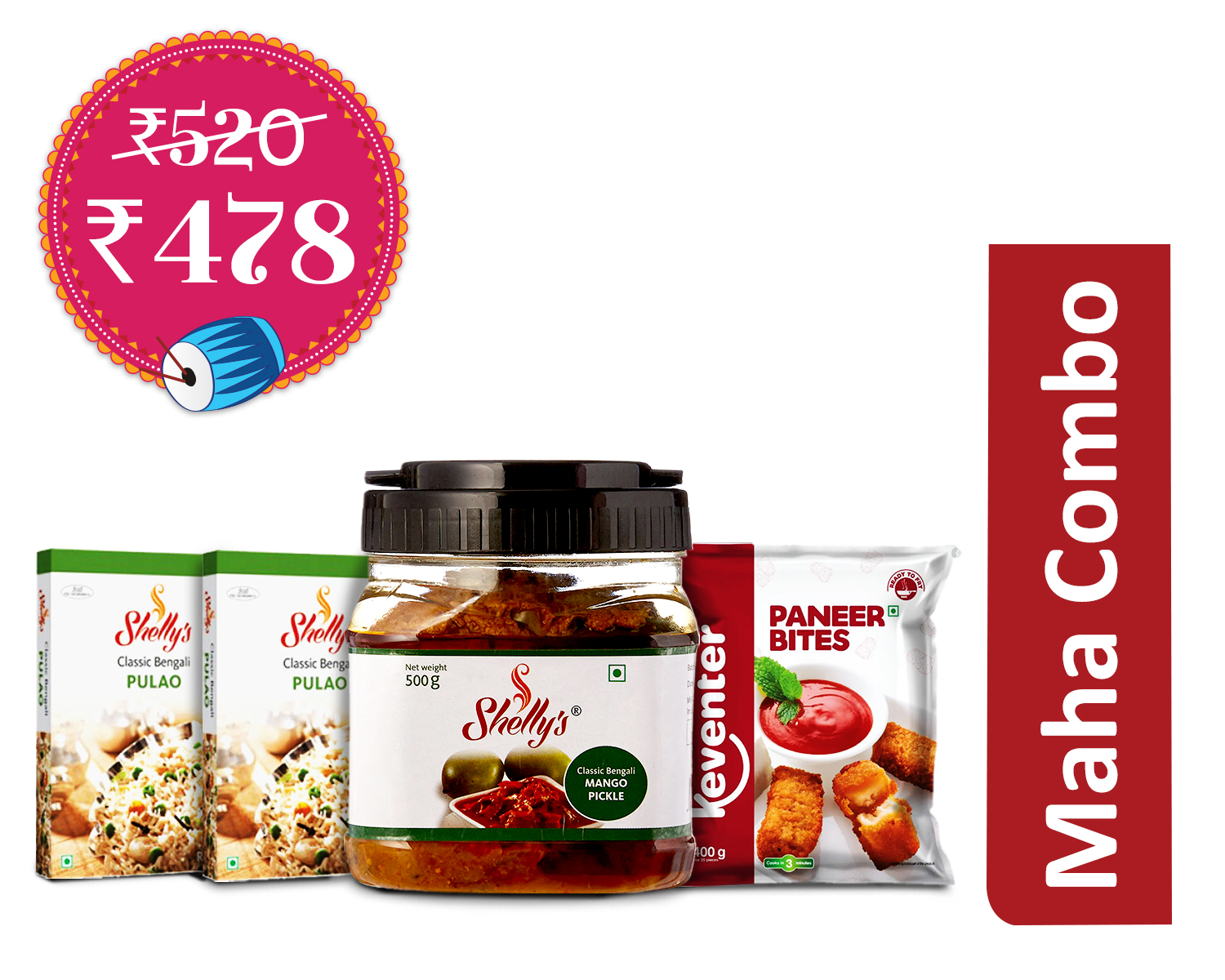 Grand Meal Combo (1 Unit) : Shellys Pulao Ready Mix 250 gm * 2 + Keventer - Paneer Bite 400 gm + Shellys Mango Pickle 500 gm