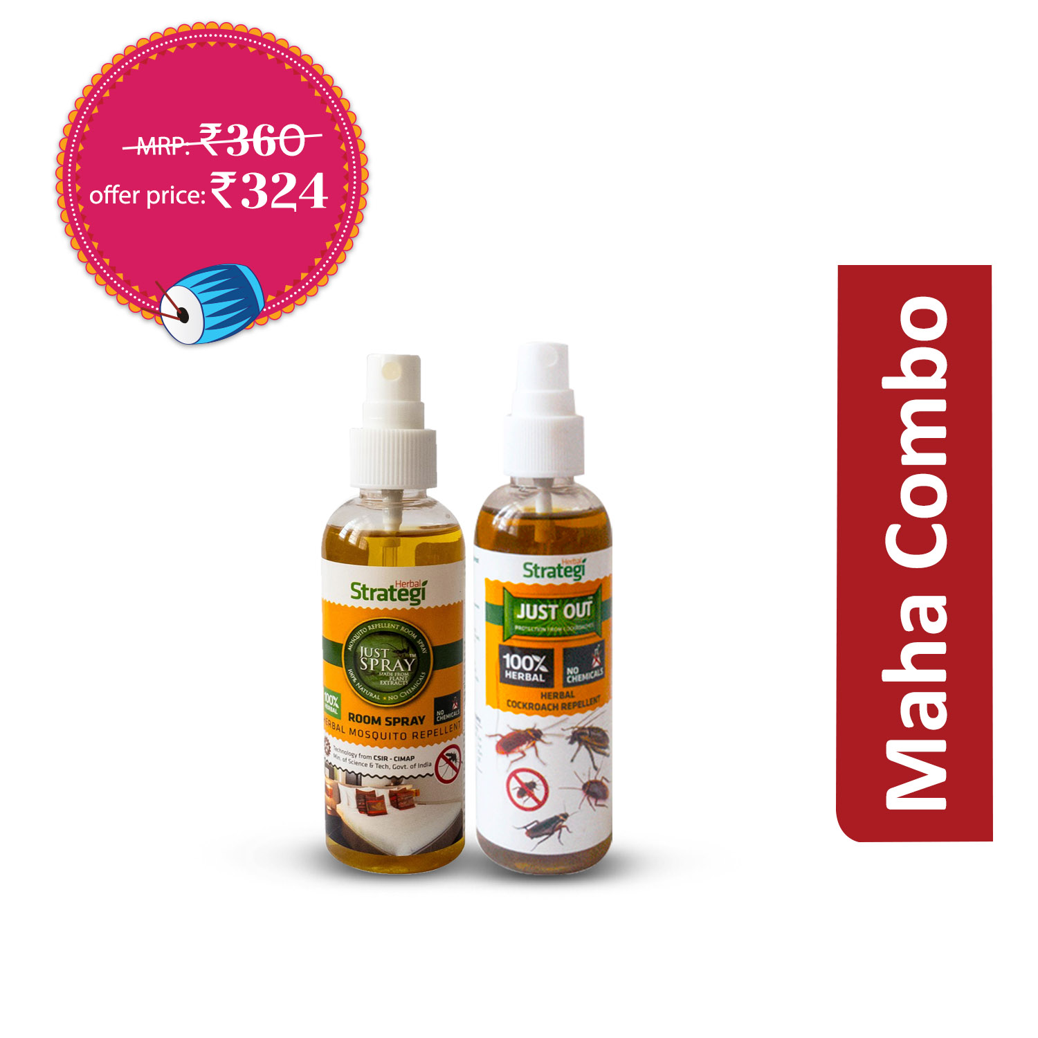 Keep-out Essentials (1 Unit) : Herbal Mosquito Repellent Room Spray 100 ml + Herbal Cockroach Repellent 100 ml