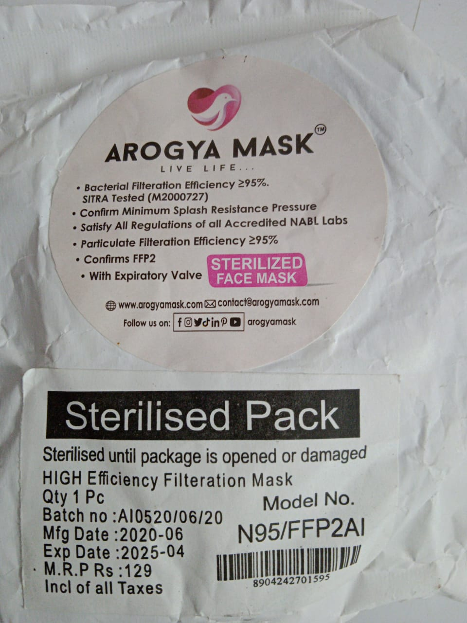 N95 Arogya Mask With Valve