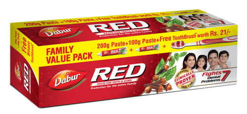 Dabur Red Toothpaste Family Value Pack With Free Toothbrush