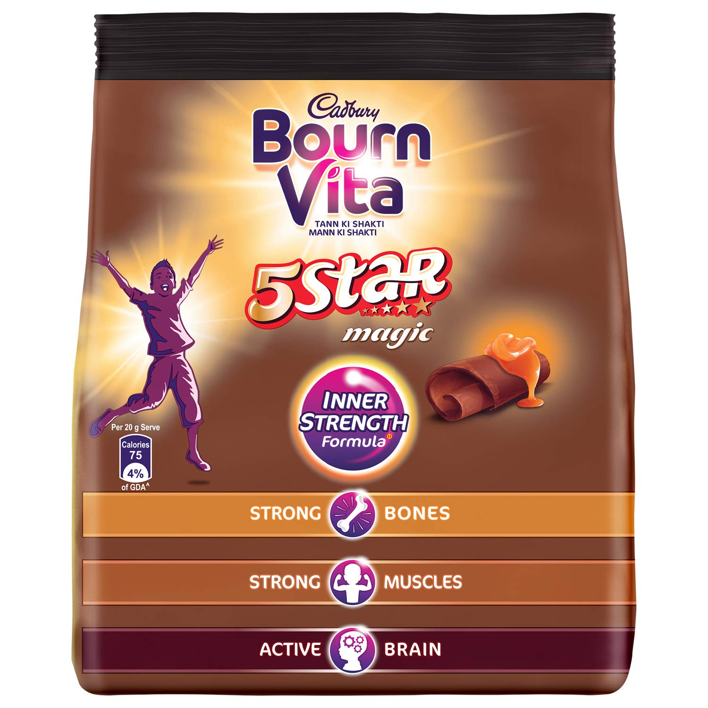 Cadbury Bournvita 5 Star Magic Health Drink 500 g refill pack.