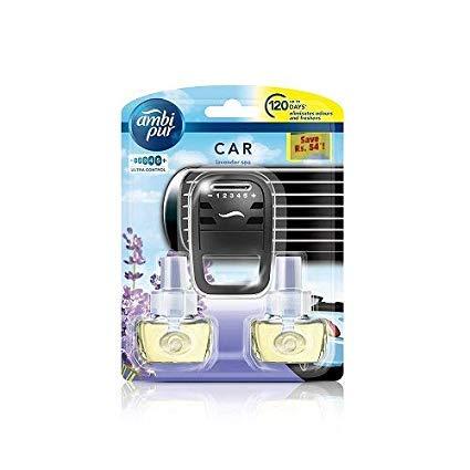 Ambi Pur Vanilla Bouquet Car Air Freshener Starter Kit.