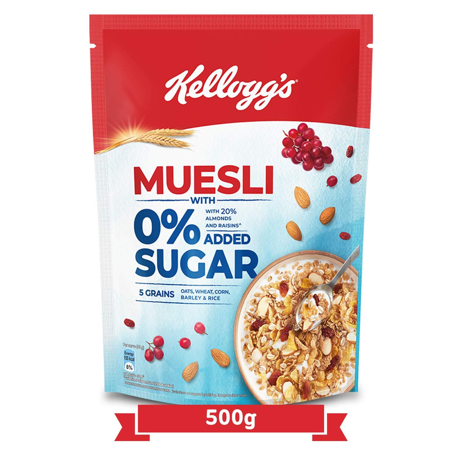 Kellogg's Muesli with 0% Added Sugar Pouch.