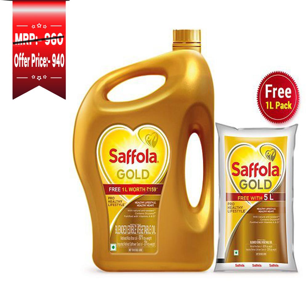 Saffola Gold Jar 5Ltr Jar + 1Ltr Pouch Free