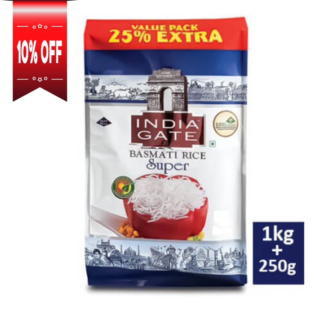India Gate Basmati Rice Super, 1kg (with Free 250g)