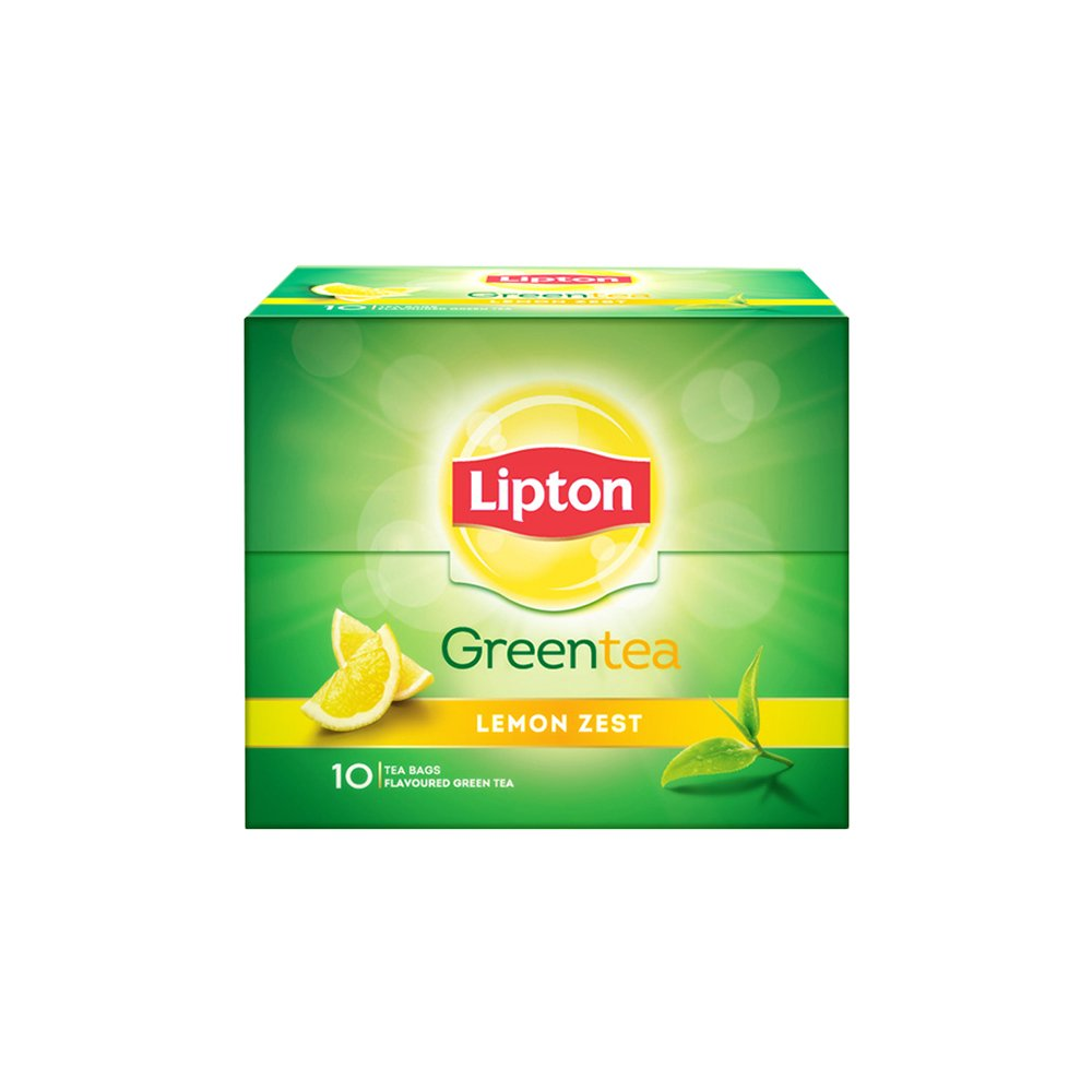 Lipton Lemon Zest Green Tea Bags, (10 Pieces)
