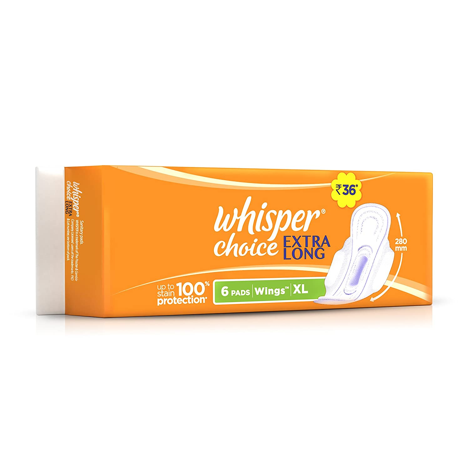 Whisper Choice Sanitary Pads for Women, XL 6 Napkins