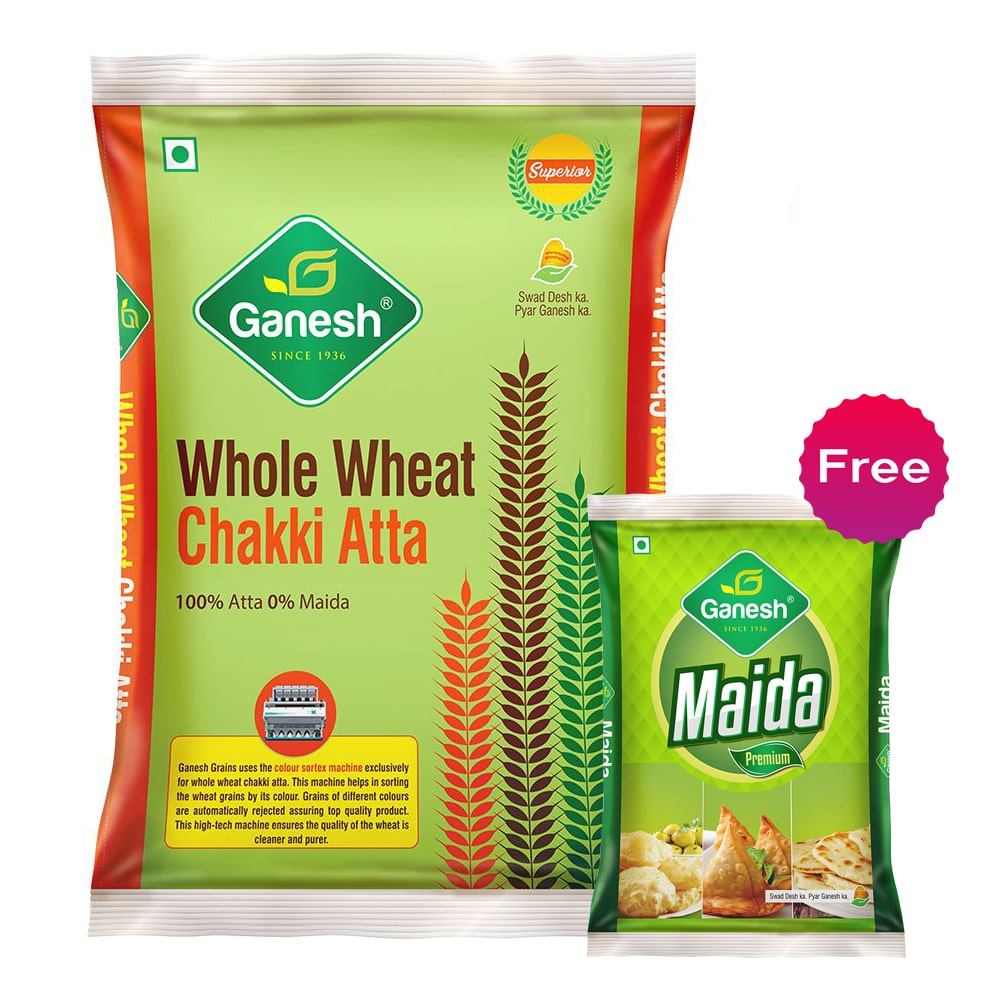 Ganesh Whole Wheat Chakki Atta + 500gm maida Free