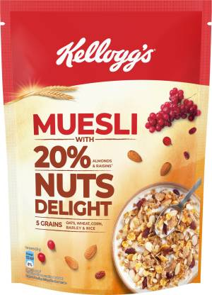 Kellogg's Muesli with 20% Nuts Delight Pouch.
