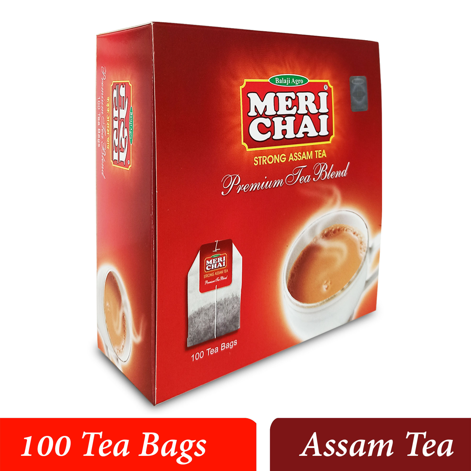 MERI CHAI Strong Assam Tea Premium Tea Blend 100 Tea Bags