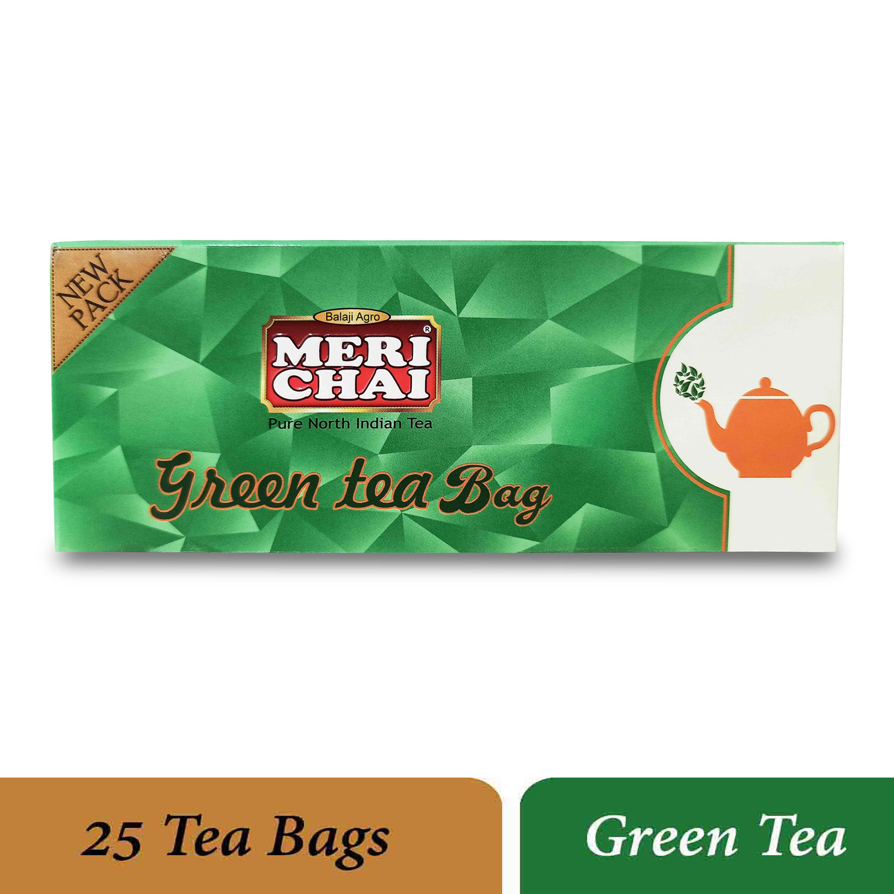 MERI CHAI Pure North Indian Green Tea Bag 25 Tea Box