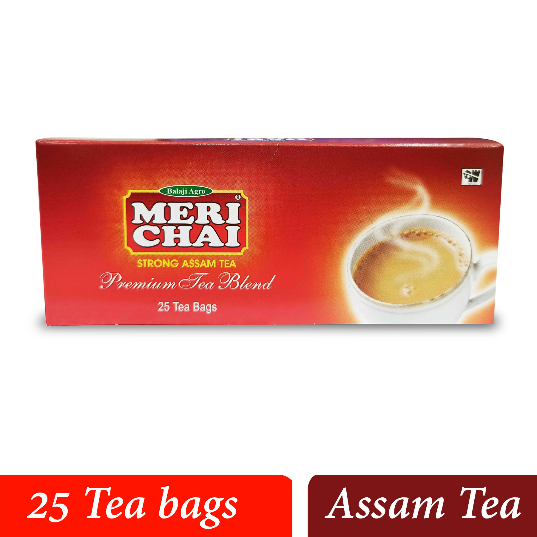 MERI CHAI Strong Assam Tea Premium Tea Blend 25 Tea Bags Box