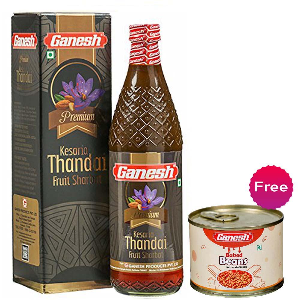 Ganesh Premium Fruit Sharbat, Kesaria Thandai + Baked Beans 200gm Free