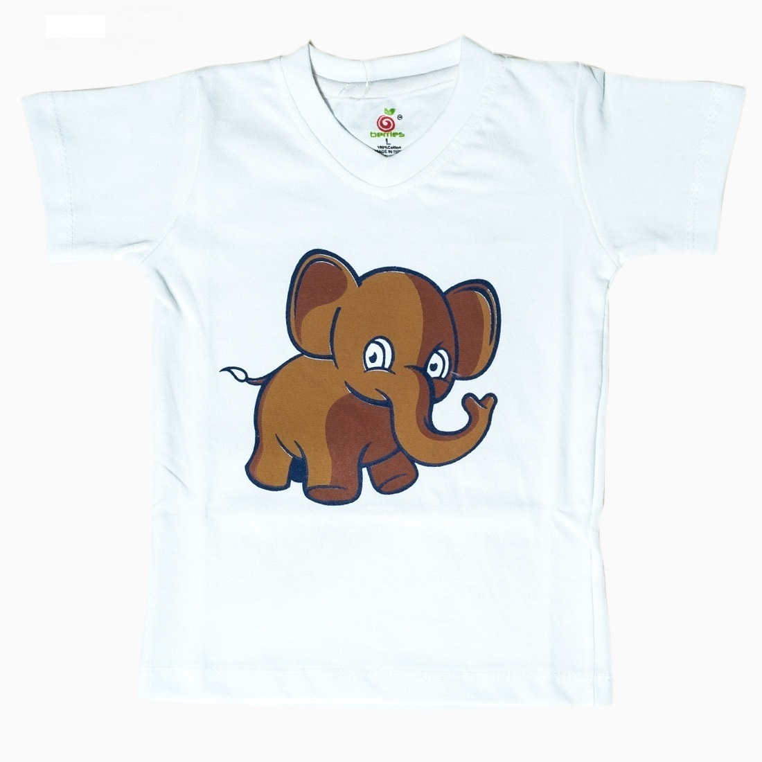 ELEPHANT PRINT DESIGN White Cotton Kidswear