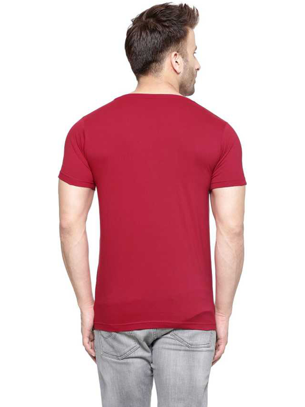 RETS007 Solid Men's Round Half T-Shirt