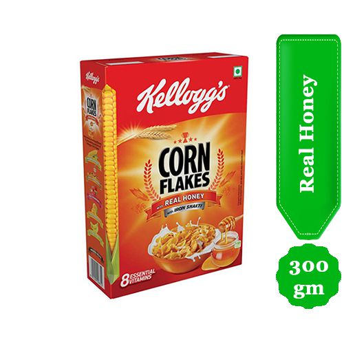 Kellogg's Corn Flakes with Real Honey | Breakfast Cereals | Low Fat | High in Vitamin C | High in Iron | Naturally Cholesterol Free