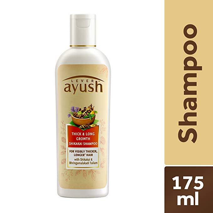 Ayush Thick and Long Growth Shikakai Shampoo.