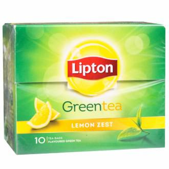 Lipton Lemon Zest Green Tea Bags,(10 Pieces).