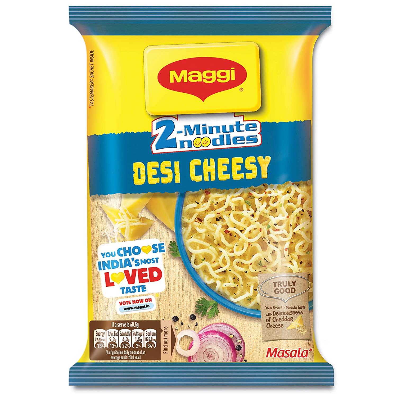 Maggi 2-Minute Instant Noodles, Desi Cheesy Masala Pouch.
