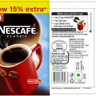 Nescafe Classic Coffee 15% Extra.