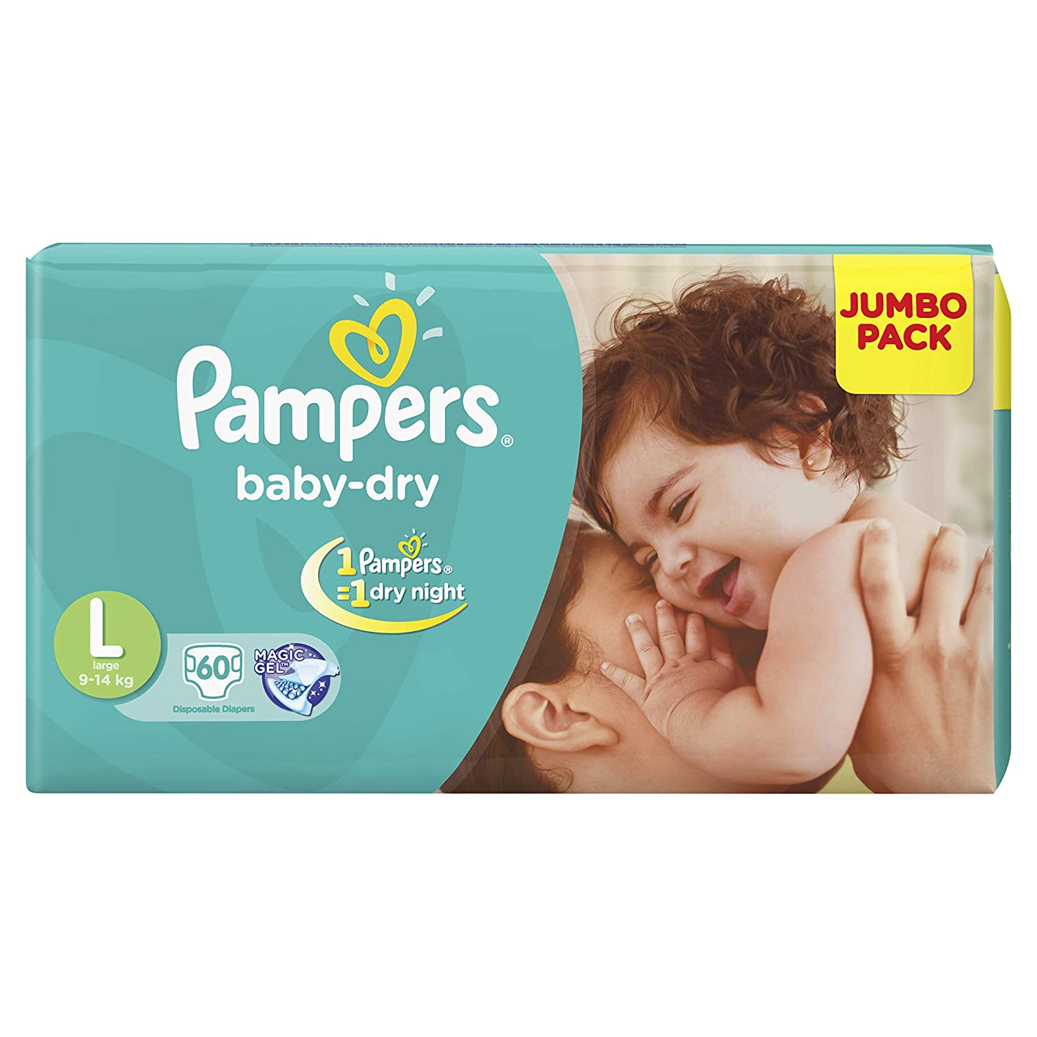 Pampers Baby Dry Diapers, L- 60 Count
