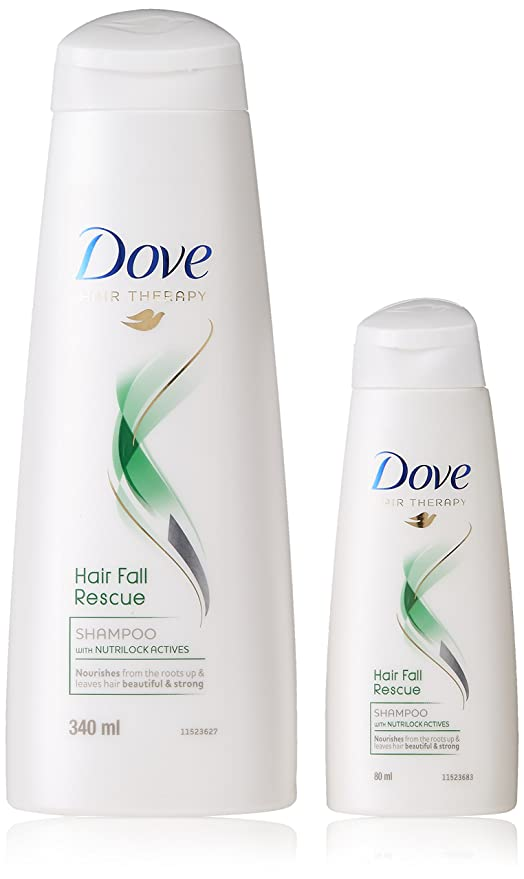 Dove Hair Fall Rescue Shampoo, 340ml + Hair Fall Rescue Shampoo, 80ml Free