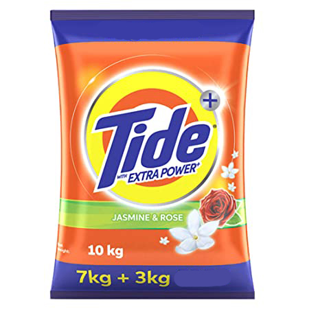 Tide Plus Extra Power Detergent Washing Powder -(Jasmine and Rose) 7 Kg + 3Kg