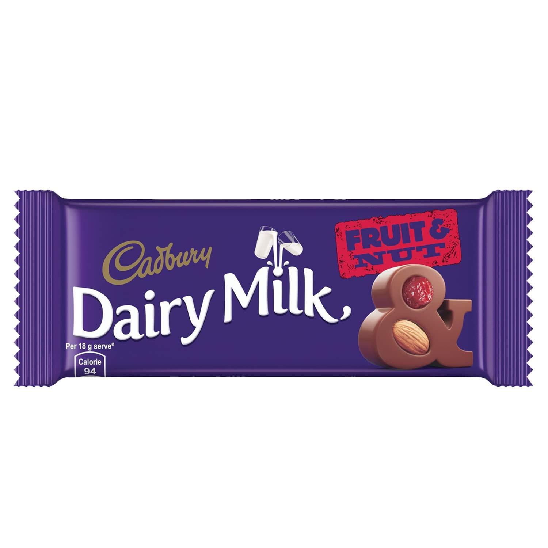 Cadbury Dairy Milk Fruit and Nut Chocolate Bars.
