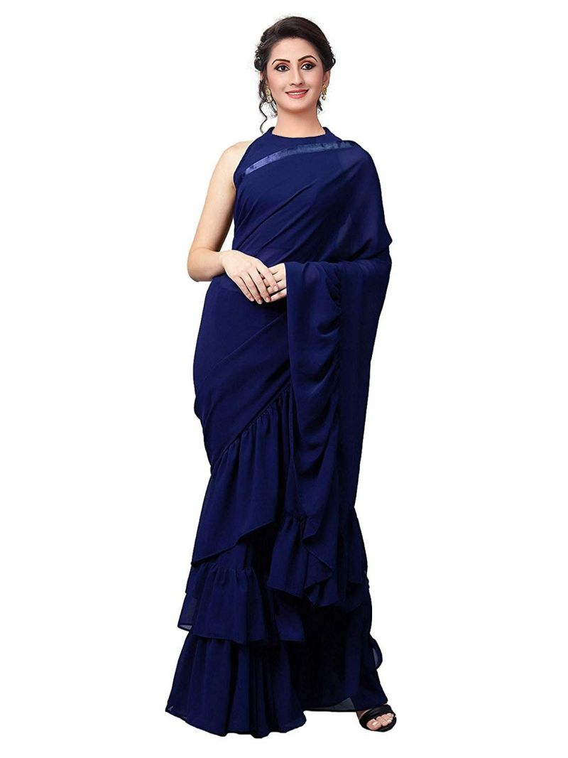 Blue Colour Vichitra Silk Party Wear Ruffle Saree MGRUF-1008
