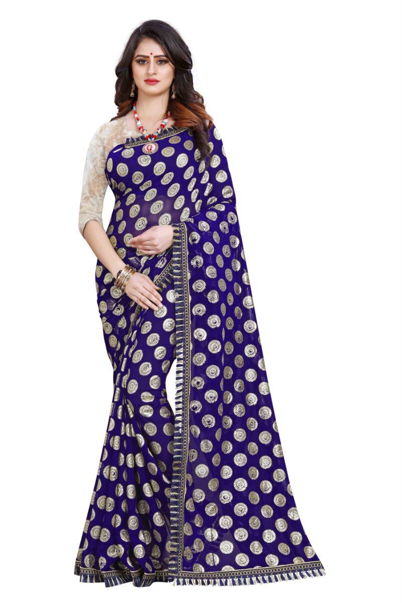 Violet Colour Banglori Silk Party Wear Ruffle Saree MGRUF-1036