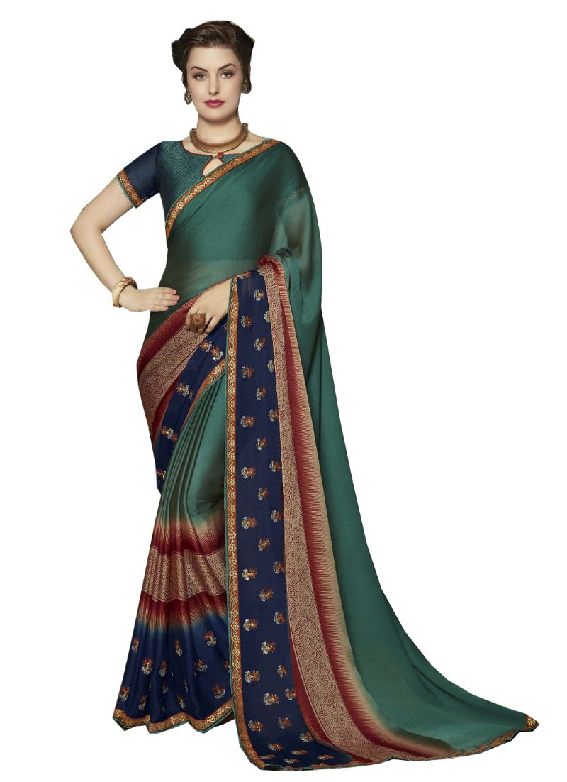 NAVRANG Green Colour Traditional Silk Saree PINAV-8001