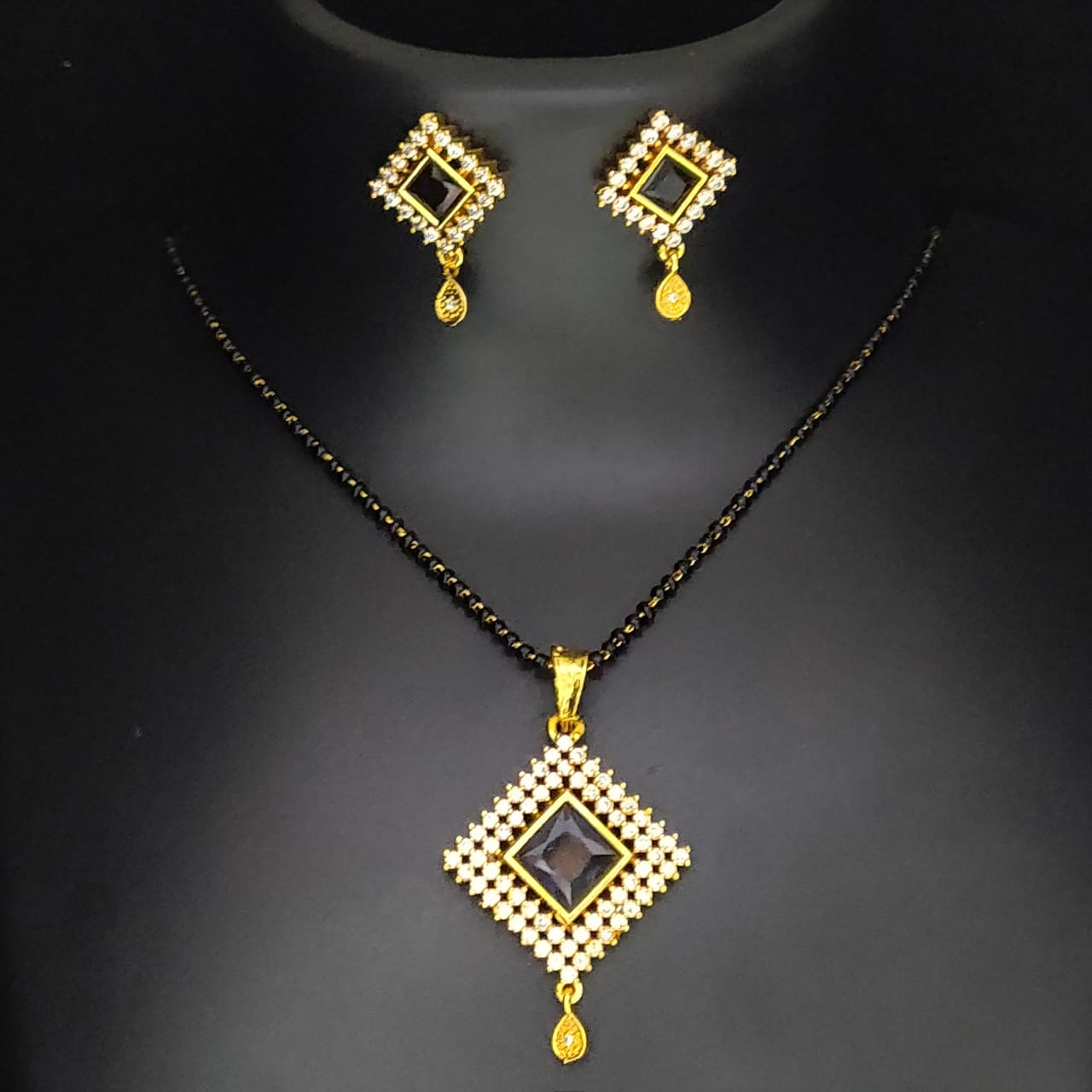 Pendants Set Jewellery for Women & Girls with Chain in American Diamond Gold Plated Pendant and Locket Sets for Gifts