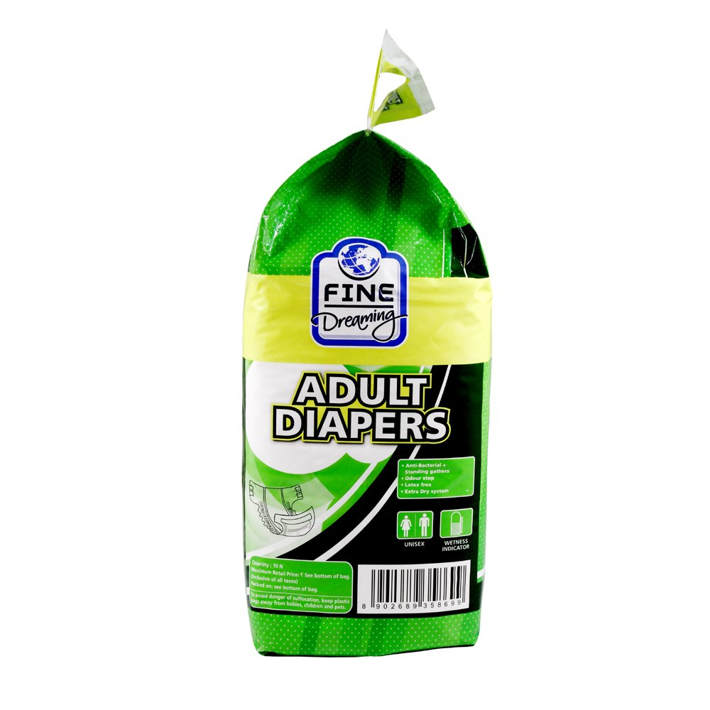 FINE DRMNG ADULT DIAPER M 10'S