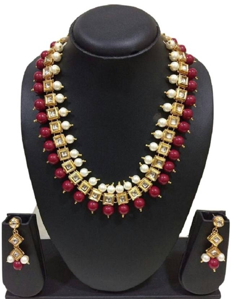 OHHO Collection Traditional Kundan With dark brown Beads and Pearl Necklace Set for Women
