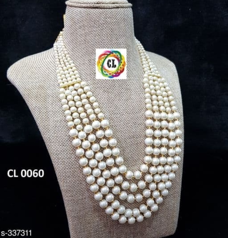 OHHO Collection Traditional White Pearl 5 Layer Party Wear Necklace for Women