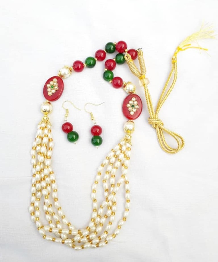 OHHO Collection Traditional Golden Pearl 5 Layer Necklace with Earrings Set for Women
