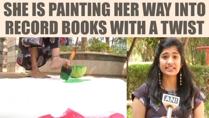 Jahnavi Maganti @jahnavi_maganti Hyderabad Girl Makes World's Largest Painting By Feet