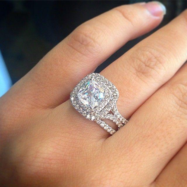 image is loading 2 ct bridal engagement wedding rings set band - Halo Wedding Rings