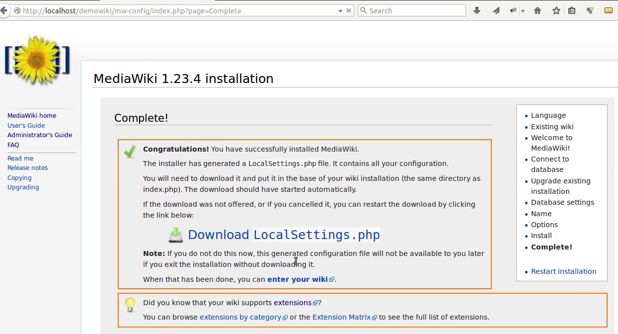 Mediawiki Installation 12