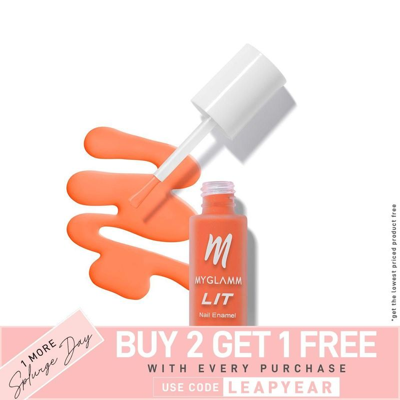 Buy LIT Matte Nail Paint Online In neon orange Shade