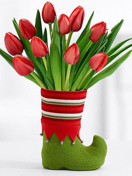 Santas Sock Floral Elf Boot