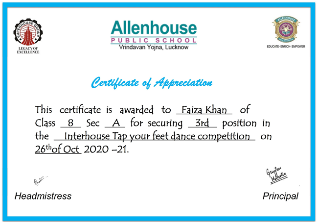 Interhouse tap your feet dance competition