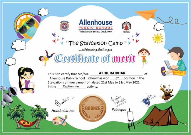 Summer Camp Senior Certificate