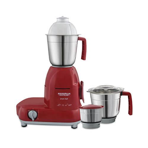 Maharaja Whiteline Smart Chef Red Treasure 750-Watt Mixer Grinder Red and Silver